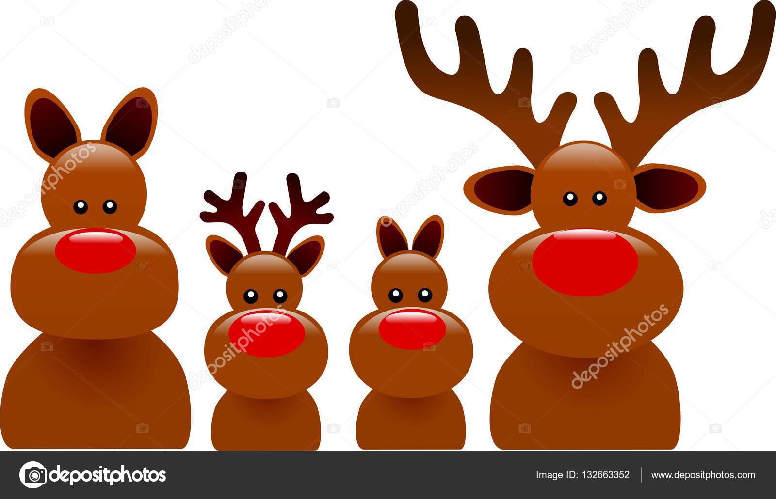 Familia Feliz De Reno De Navidad