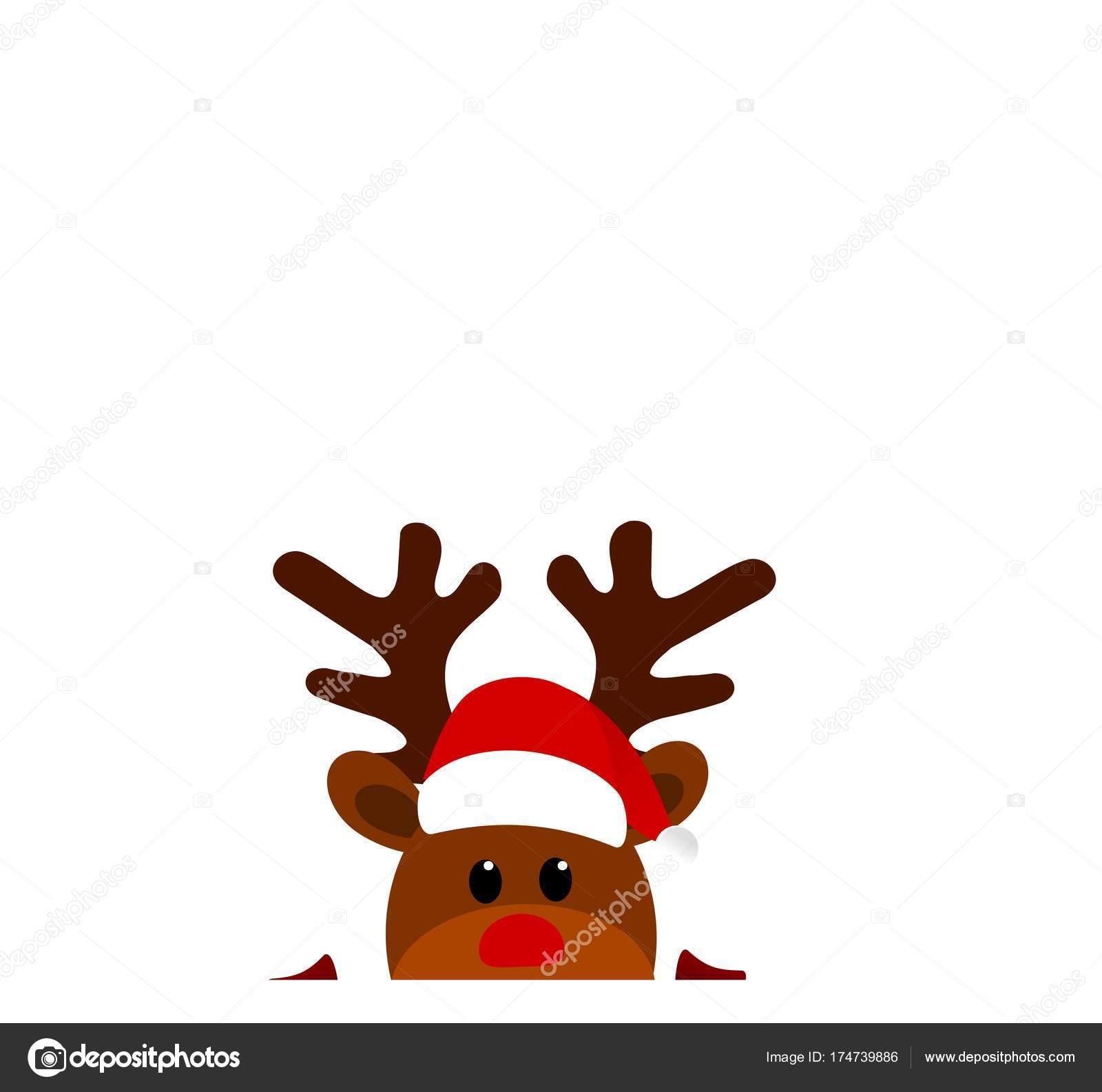 Immagini Natale Renne.Fumetto Di Natale Renne Con Il Cappello Di Babbo Natale