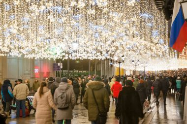 Moscow-January 07: The Ilyinskaya street full of locals and tourists at Christmas time on January 07, 2018 in Moscow, Russia.