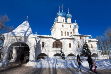 Moscow, Russia-March 09, 2018: The Church of the Icon of Our Lady of Kazan in Kolomenskoye estate, people go sightseeing.