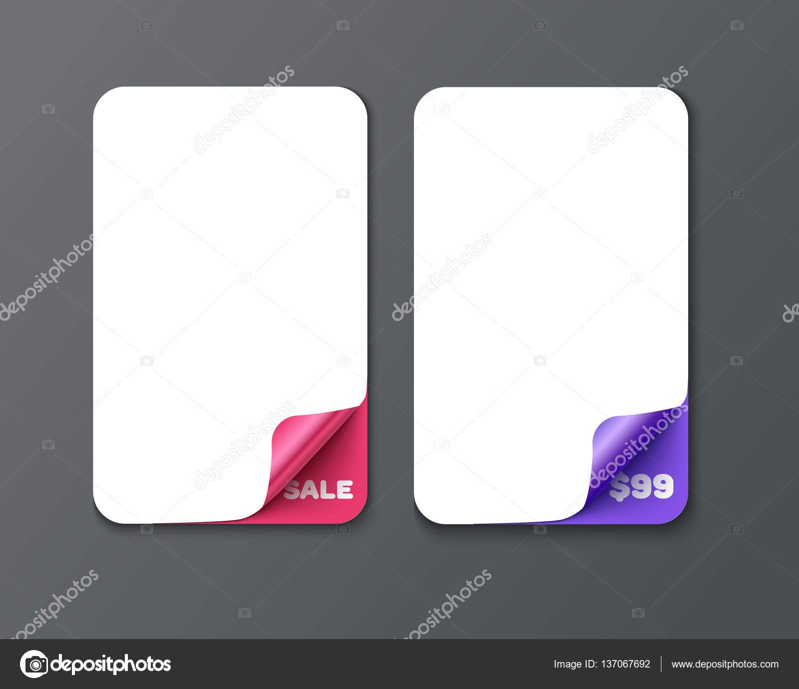 set of vertical banner template with curl corners stock vector