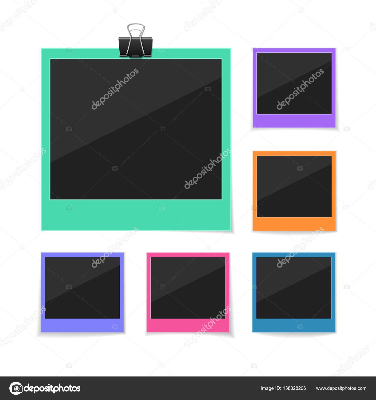 Sammeln Sie Momente. Set Vector Fotos gehängt mit Büroklammer. Retro ...