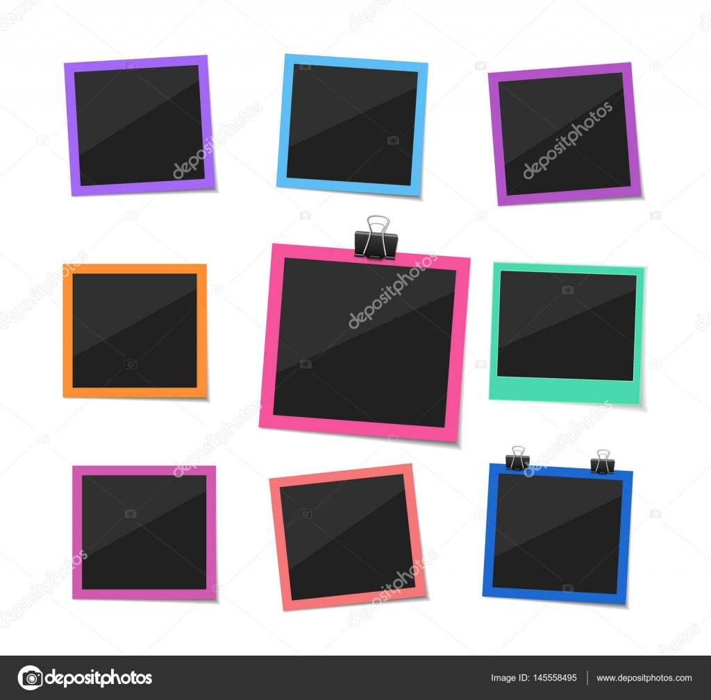 Erinnern Sie jeden Moment. Set Vector Fotos gehängt mit Büroklammer ...
