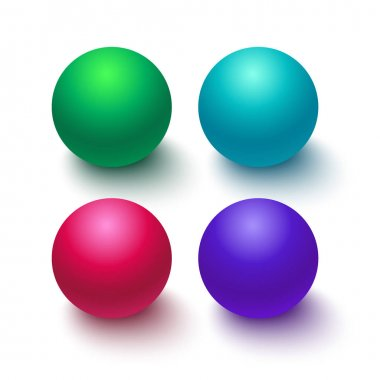 Collection of colorful glossy spheres isolated on white