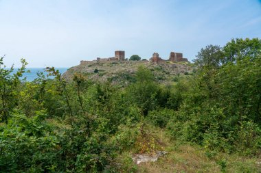 Hammershus, Bornholm / Denmark - July 29 2019: Old fortification on the Danish island of Bornholm with the ruins on top of a hill