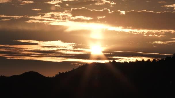 Slunce se stává jasným, jak stoupá nad lesní stráň a teplé osvětlené mraky.
