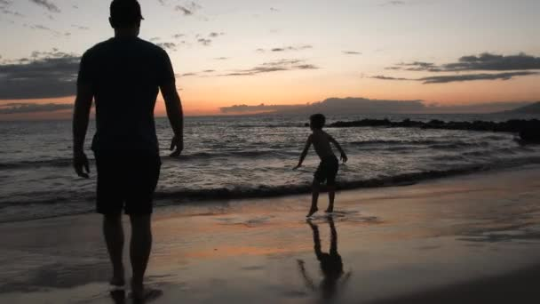 Father and son enjoy beach time together on the Hawaiian Islands at the ocean, use for dusk or dawn.