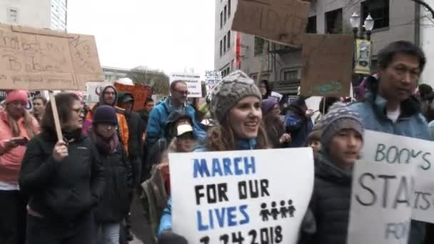 People yelling No More NRA! during March For Our Lives concerning better gun laws in the United States.