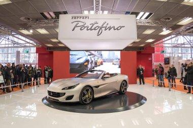 BOLOGNA, ITALY - CIRCA DECEMBER, 2017: Ferrari Portofino cabriolet sports car at Motor show.