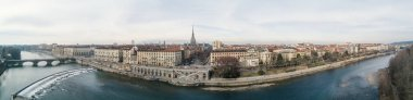 Turin aerial skyline panoramic landscape with Po river and Mole Antonelliana. Italy.