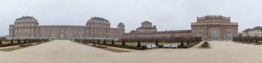 TURIN, ITALY - CIRCA FEBRUARY, 2018: Panoramic view of Venaria Royal Palace gardens - Reggia Venaria. It was the former royal residence of the Savoy family.
