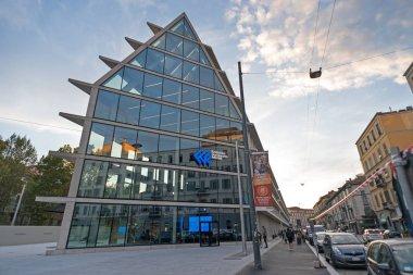 MILAN, ITALY - CIRCA SEPTEMBER, 2017: Giangiacomo Feltrinelli Foundation, the new building designed by Herzog & de Meuron in Porta Volta district, Milan.