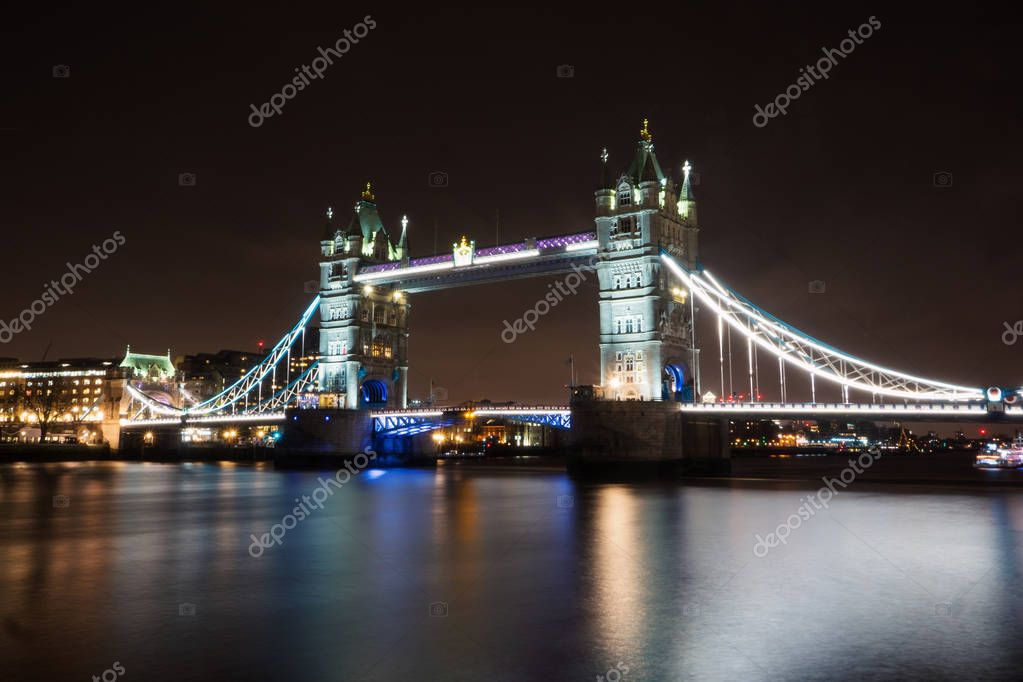 Tower Bridge, London. Long exposure at night.