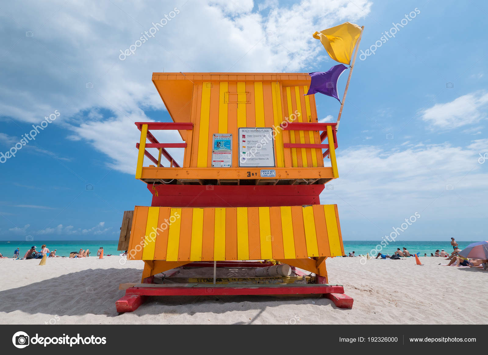 Lifeguard Tower Typical Colorful Art Deco Style Bright Sunny Summer
