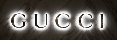 TOKYO, JAPAN - CIRCA MARCH, 2017: Gucci neon sign inside shopping mall.
