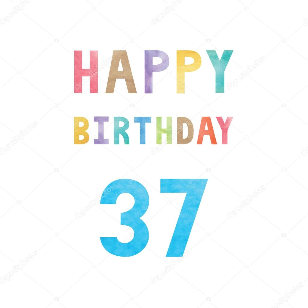 Happy 37th Birthday Anniversary Card Stock Vector