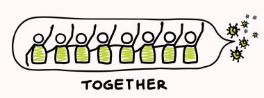Support each other corona virus covid 19 stickman infographic. Considerate community help graphic clip art.Worl wide viral pandemic affects everyone. Be kind, dont touch, stay positive poster banner
