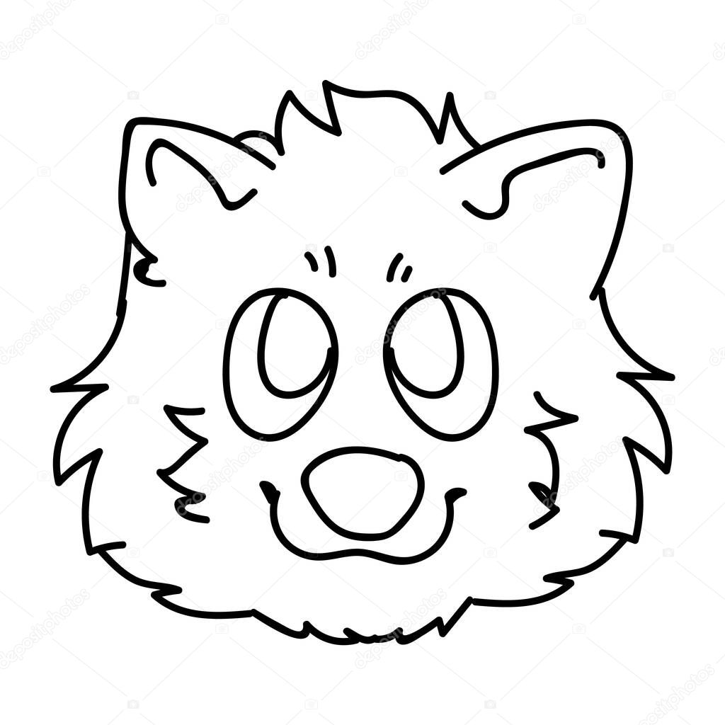Cute Cartoon Monochrome Lineart Pomeranian Puppy Face Dog Breed Vector Clipart Pedigree Kennel Doggie Breed For Dog Lovers Purebred Domestic For Pet Parlor Illustration Isolated Canine Fluffy Premium Vector In Adobe