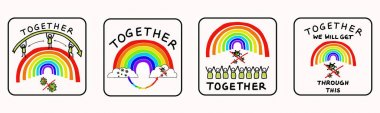 Together rainbow virus fight. Support each other corona covid 19 infographic. Considerate community help graphic clipart. Pandemic stick figure positive joined action poster banner