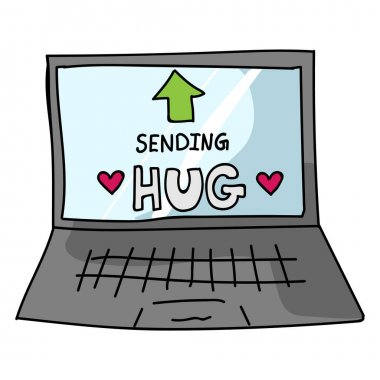 Sending virtual hug corona virus crisis text on laptop. Defeat sars cov 2 stay home infographic. Social media love. Viral pandemic support message. Outreach get through together sticker vector.