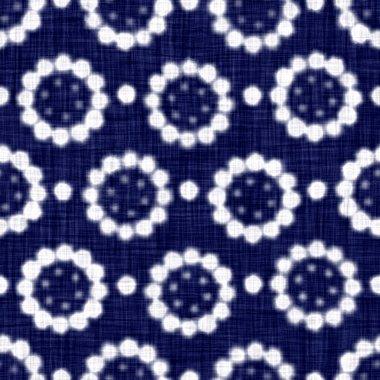 Indigo blue woven boro cotton dyed effect texture background. Seamless japanese repeat batik pattern swatch. Daisy motif distress tie dye bleach. Asian wagara all over kimono textile. Worn cloth print