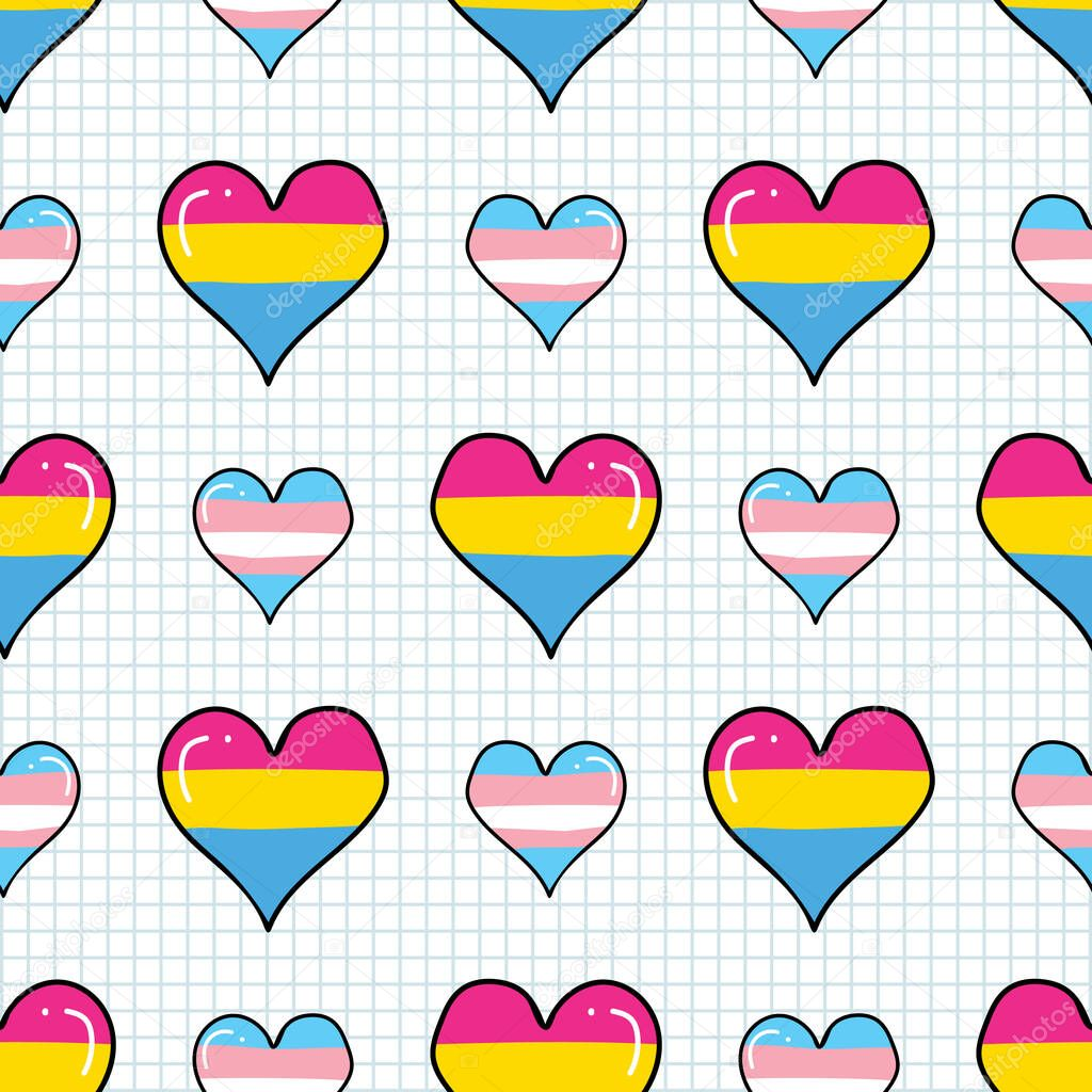 Cute Transgender Pansexual Heart Cartoon Seamless Vector Pattern Hand Drawn Isolated Pride Flag For Lgbtq Blog Gay Love On Stripe Background All Over Print Community Tolerance Premium Vector In Adobe Illustrator
