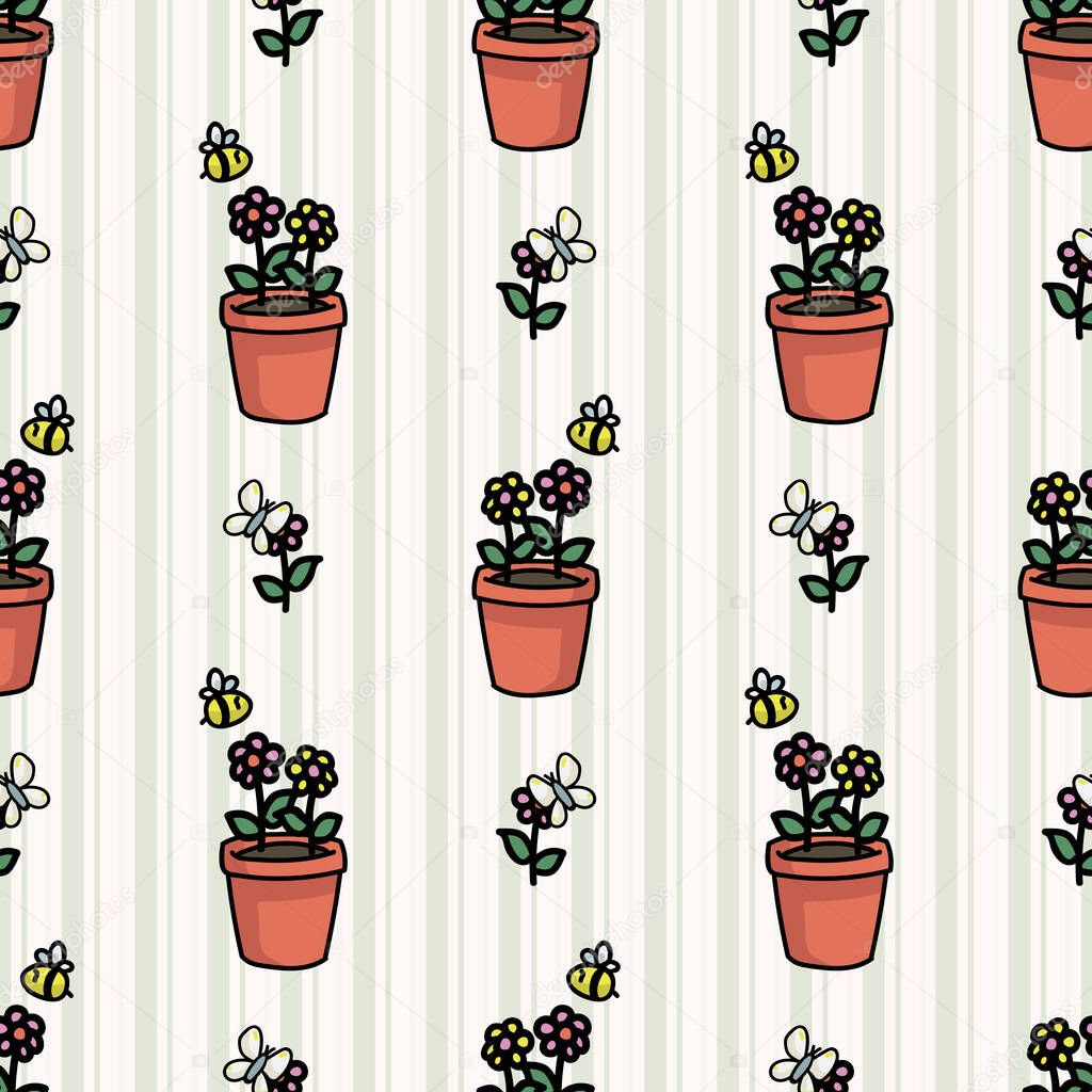 Cute Plant Pot With Bugs Seamless Vector Pattern Hand Drawn Growing Garden For Stay Home Illustration Bee And Butterfly On Flower All Over Print Pollinating Insect On Blooms Premium Vector In