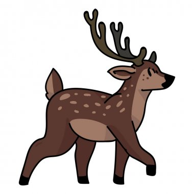 Cute woodland walking deer vector illustration. Buck deer with antlers. Childlish hand drawn doodle style. For game animal decor, boho kids fashion, trendy doodle forest graphic design.