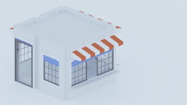 Izometrická budova. 3D ilustrace. Malý obchod. Izolovaný obrázek.