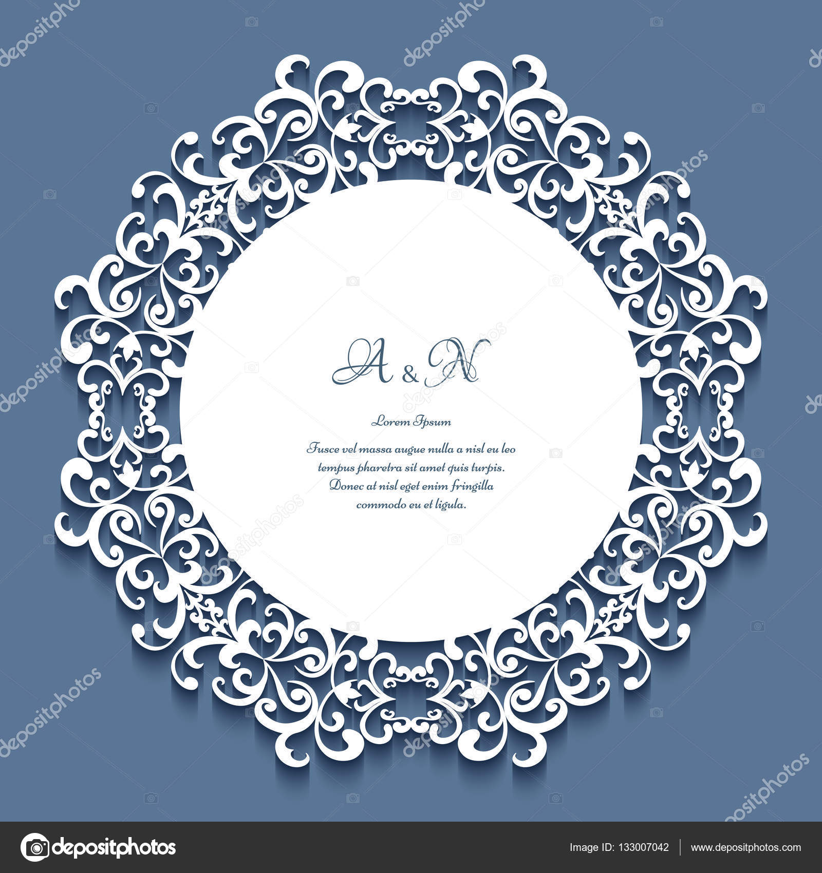 Round lace frame, wedding invitation template — Stock Vector ...