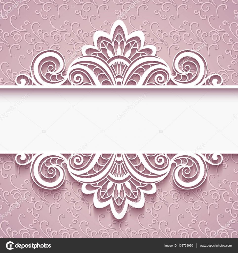 Dekorative Papier Rahmen mit Spitzenabschluss — Stockvektor ...
