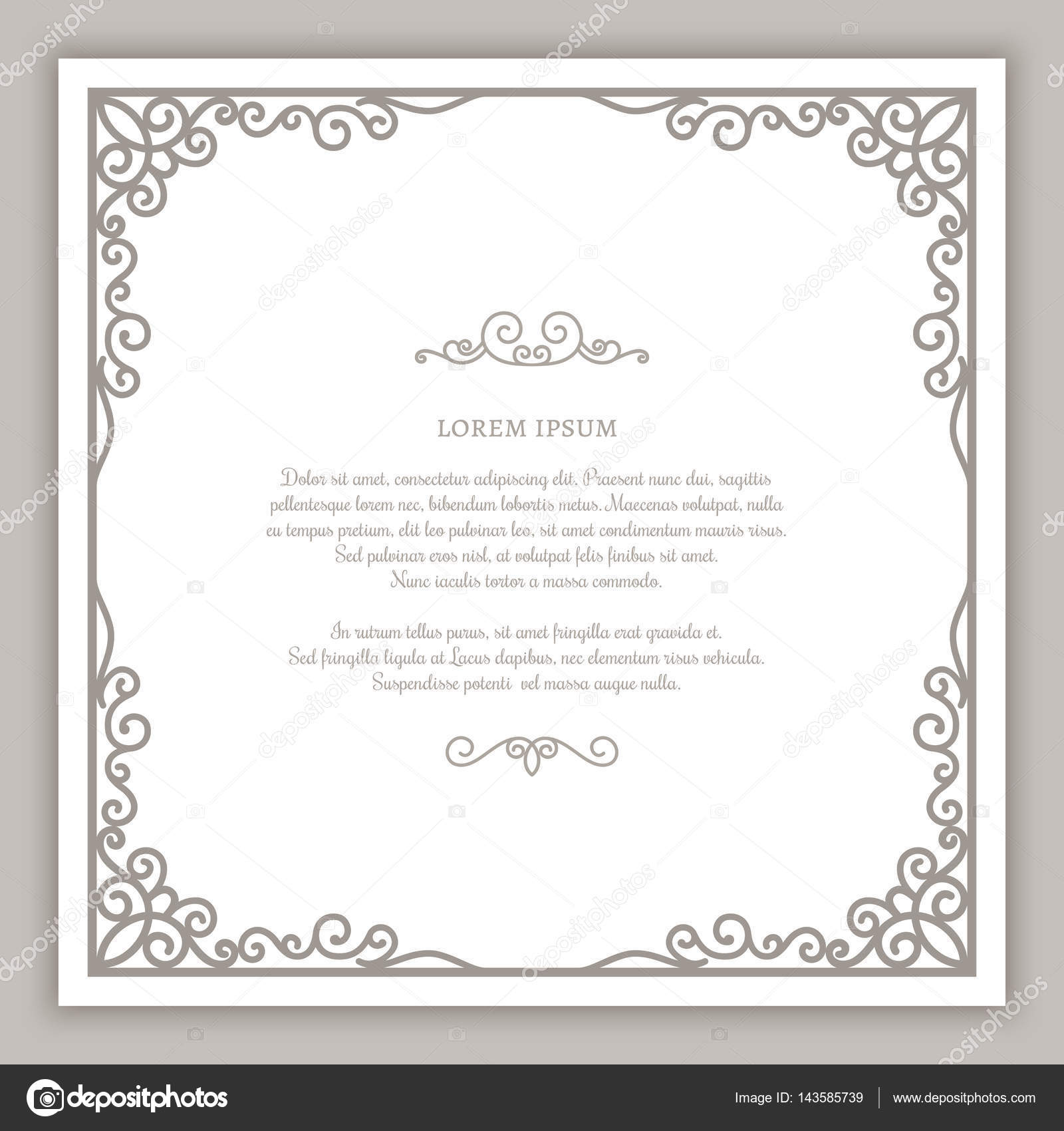 Vintage Square Frame With Swirly Corner Decoration Cutout Paper Vignette Greeting Card Or Wedding Invitation Template Vector By Magenta10