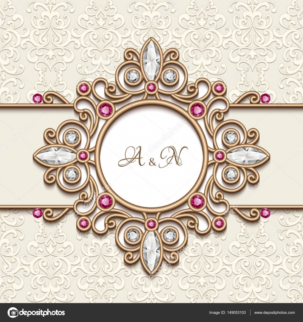 Wedding Card With Jewelry Gold Decor Stock Vector