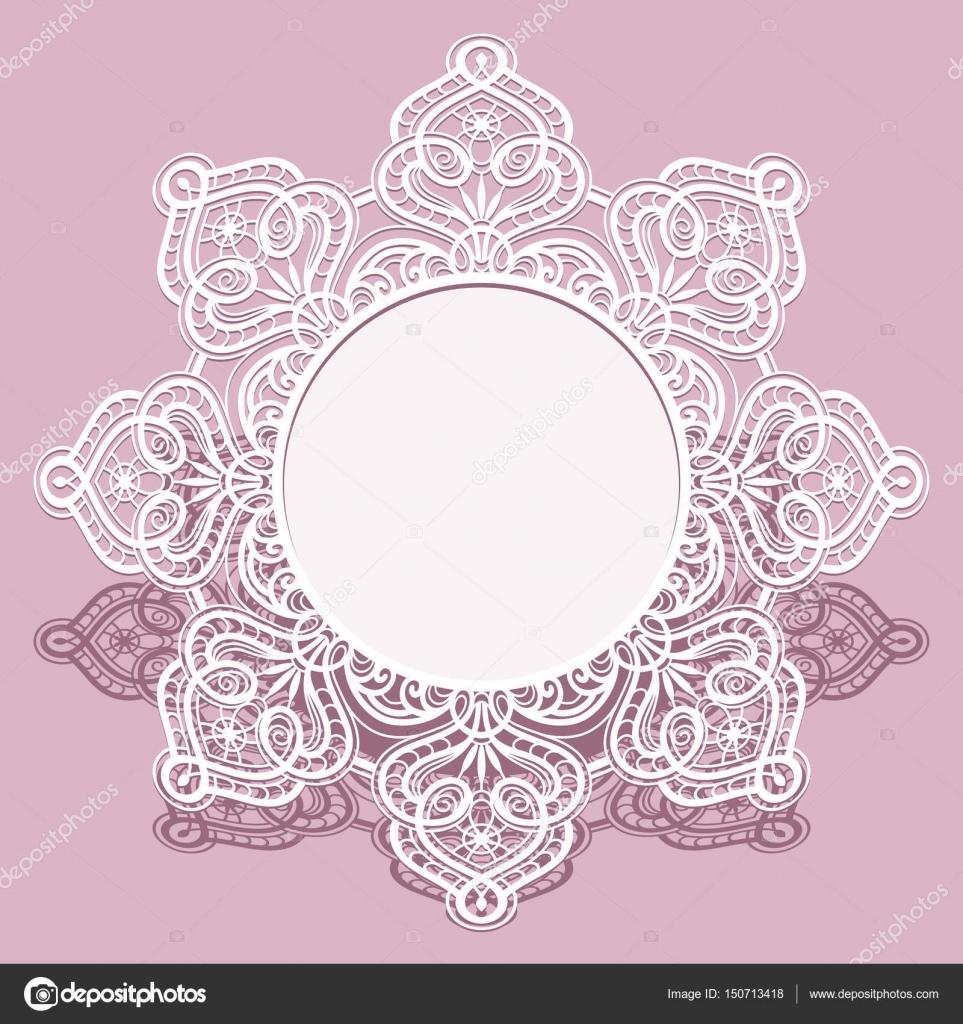 2d6cac9898 Papír keret, kerek csipke alatt a torta, bejelentés, vagy meghívást design esküvői  szalvéta — Vektorok magenta10 ...