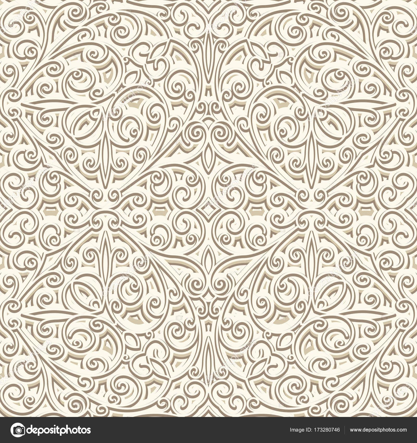 patrón sin costuras Vintage color beige — Vector de stock ...