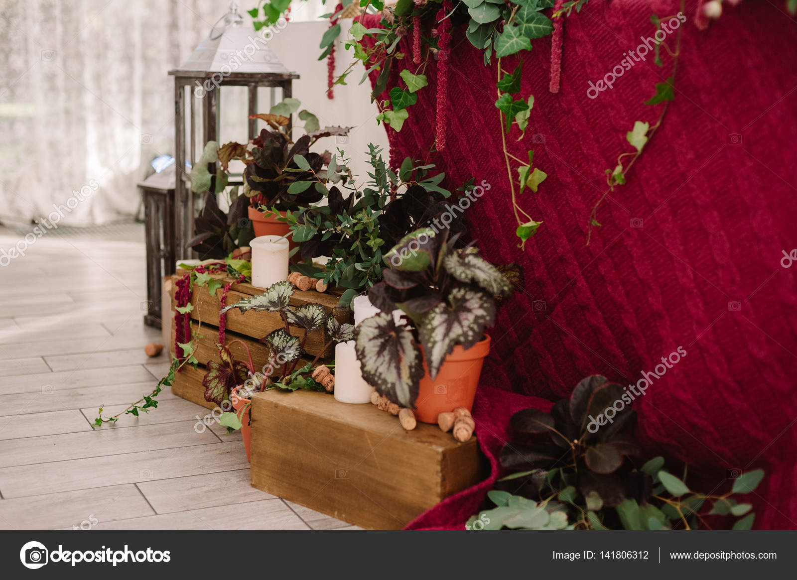 Wedding Decoration Of The Restaurant In Rustic Style Stock Photo C Olgaburtseva 141806312