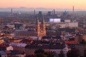 Kostel Ostrava v západu slunce, Česká republika