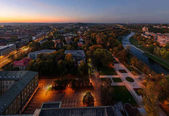 Panorama panorama města Ostravy večer