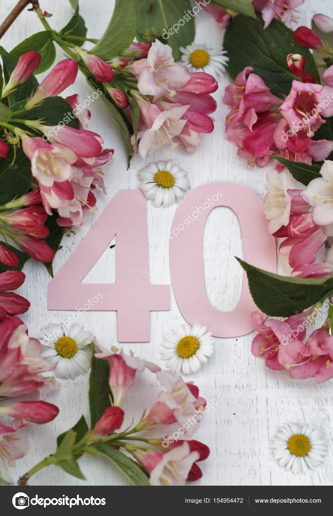 Fiori 40 Anni.Pastel Number 40 With Flowers Stock Photo C Elm98 154954472