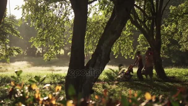 Rodina bílých chůzi v městském parku s piknikový koš