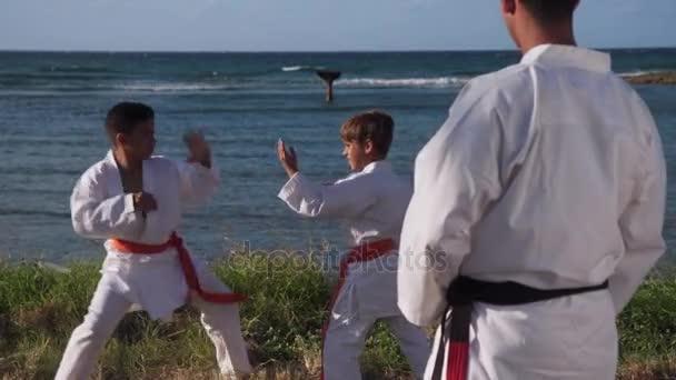 Portrét jistotu Karate trenér sledování dětí bojovat a cvičení