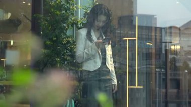 Business Woman Asian Businesswoman With Smartphone In Office Building