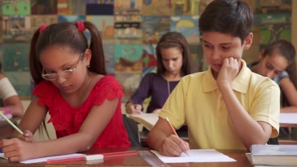 Boy Cheating During Admission Test In Class At School