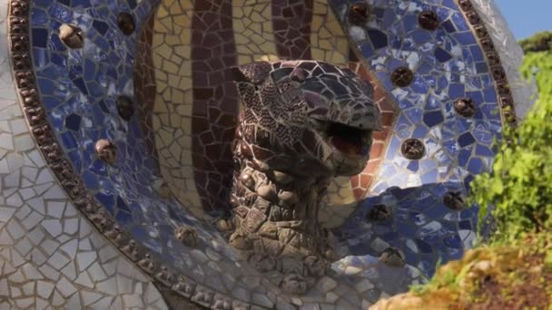 Detail Of Statue By Gaudi In Parc Guell Barcelona Spain