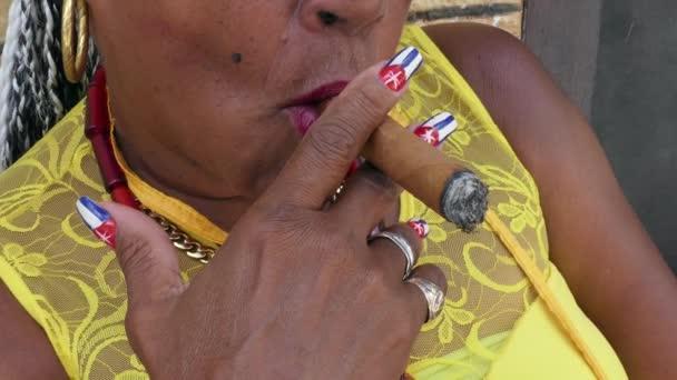 Woman Smoking Cigar Cuban Flag Painted On Nails Havana Cuba