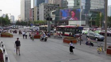 Pedestrians Cars Bikes Street Traffic People In Chengdu China Asia
