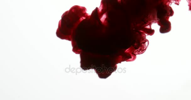 Red Paint Colors in Water Creating Liquid Art Shapes