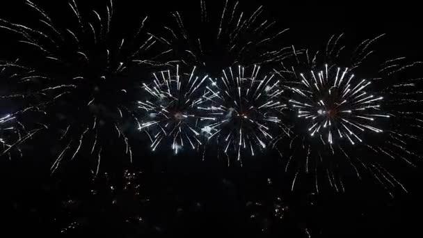 Echtes Feuerwerk auf tiefschwarzem Hintergrundhimmel beim Feuerwerksfest