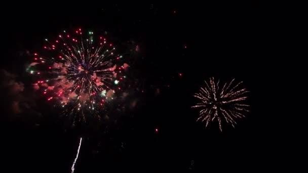 4K skutečný abstraktní ohňostroj show na hluboké černé noční obloze