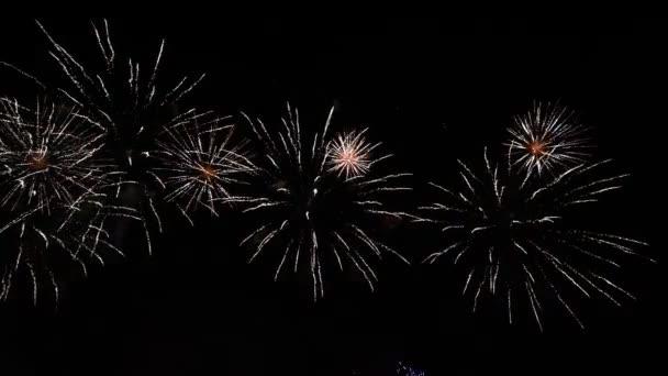 4K záběry ohňostroje na hluboké černé noční obloze